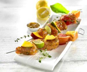 Recette avec marinade aux agrumes : Brochettes de volaille aux agrumes