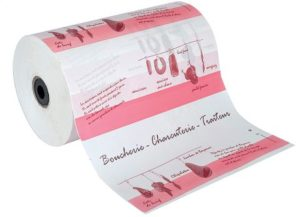 "Bobine  papier thermoscellable imprétion  ""Boucherie - Charcuterie - Traiteur"""
