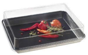Assiette pulpe de canne avec couvercle en PET recyclable